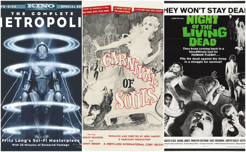 Metropolis, Carnival of Souls, and Night of the Living Dead movie cover collage
