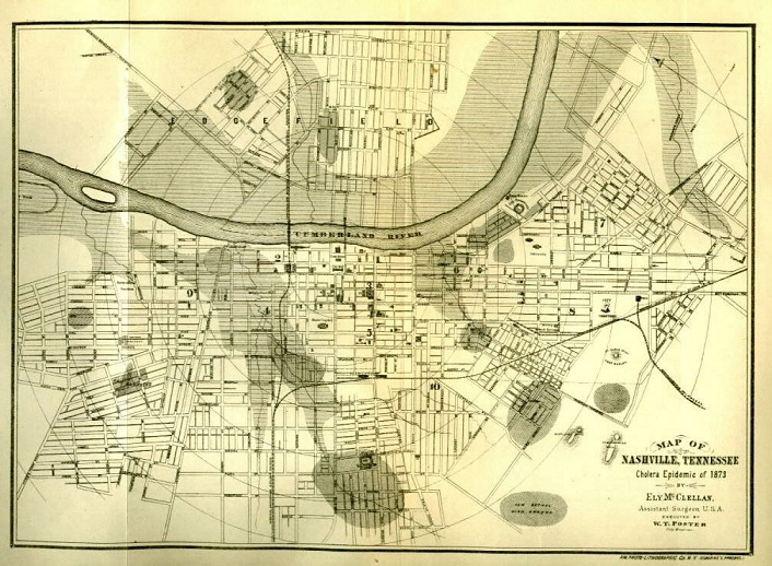 Map of the Cholera Epidemic in Nashville, in 1873