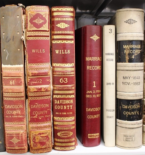 View of wills and marriage books in Metro Archives