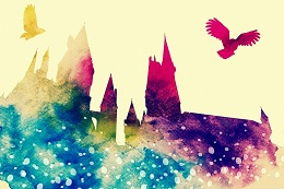 hogwarts watercolor with owls