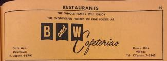 Ad for the B & W Cafeteria in the 1962 City Directory