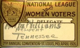 Anita Williams' Convention badge from 1926