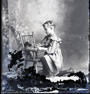 Hicks Green glass plate negative, girl with puppy