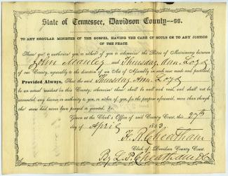 Manley-Loyd marriage, dated 4-27-1853