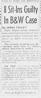Tennessean clipping from March 10th, 1963 after the 8 students were found guilty in the sit-in case