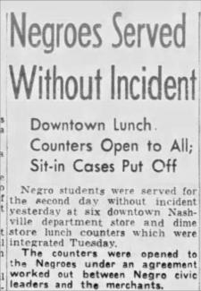 Tennessean clipping from May 12th, 1960 after a few restaurants in Nashville integrated their lunch counters