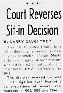 Tennessean clipping from April 6th, 1965 regarding the Supreme Court reversal