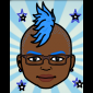 Sade with blue mohawk avatar
